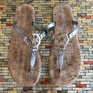 Michael Kors Silver an Cork Sandals Size 8